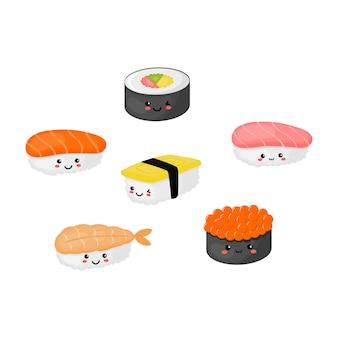 Kawaii sushi e sashimi cibo giapponese isolato