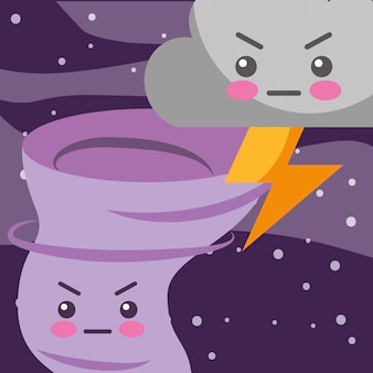Kawaii thunder cloud e twister cartoon meteo