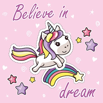 Kawaii unicorn su rainbow circondato stelle