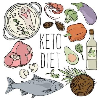 Keto diet cibo sano a basso contenuto di carboidrati freschi