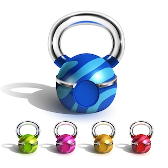 Kettlebell in set design divertente multicolore