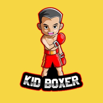 Kid boxer esport mascot logo design