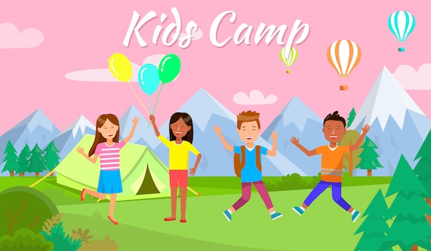 Kids camp horizontal banner happy bambini camping