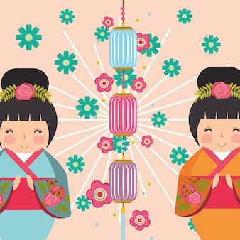 Kimono bambola kokeshi giapponese