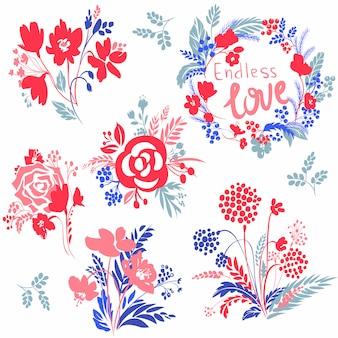 Kit carino con composizione floreale vettoriale.