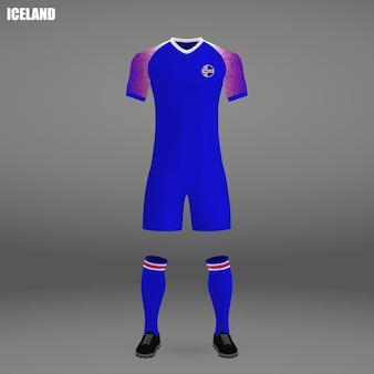Kit da calcio dell'islanda, modello di maglietta per jersey da calcio