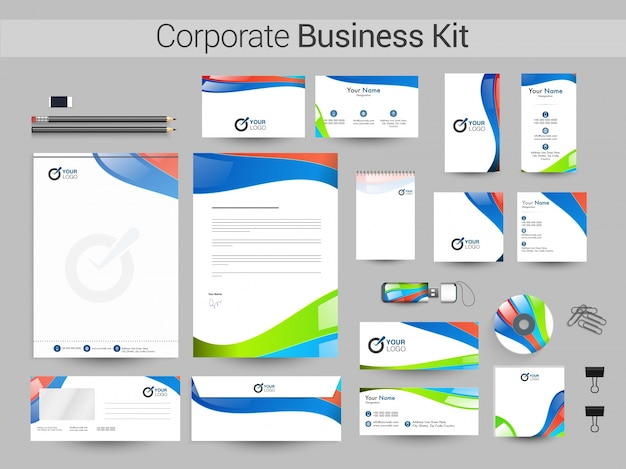 Kit di business corporate con onde colorate.