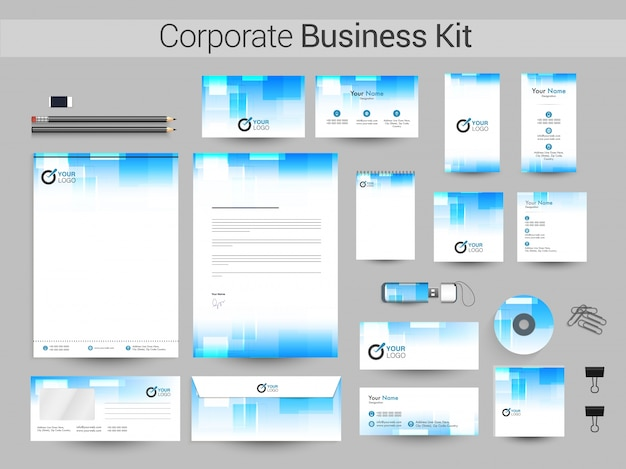 Kit di business corporate in colori blu e blu.