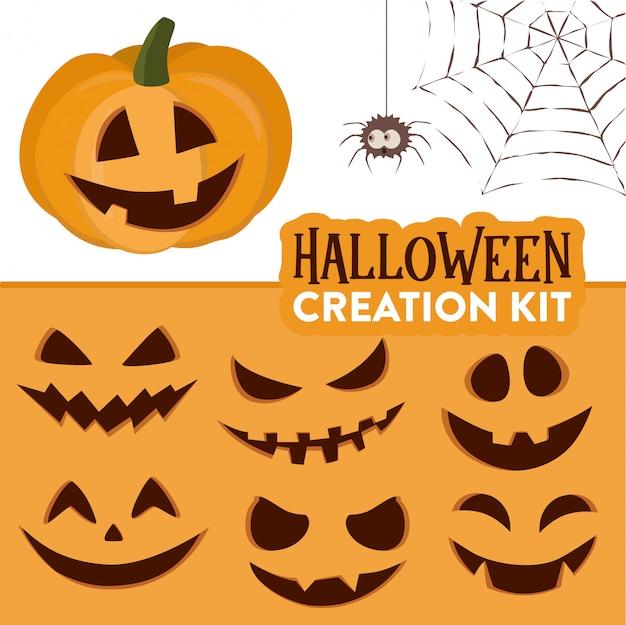 Kit di creazione della zucca di halloween della zucca sveglia del fumetto divertente