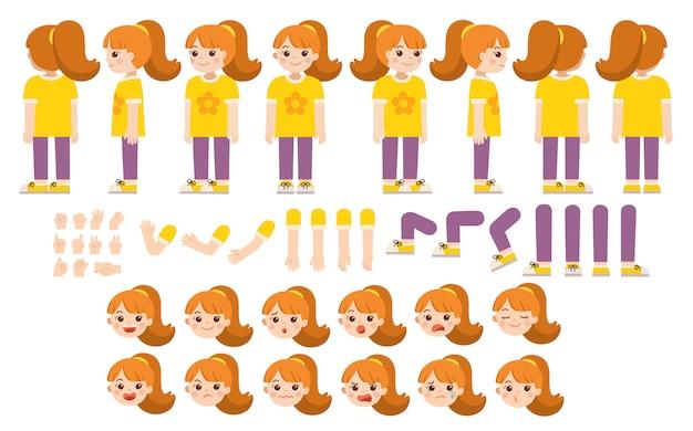 Kit di creazione mascotte di bambina per diverse pose. costruttore con vari punti di vista, emozioni, pose e gesti. set creazione personaggio scolaretta.