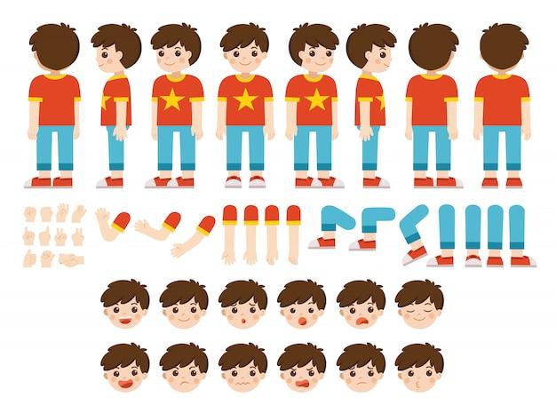 Kit di creazione mascotte di ragazzino per diverse pose. costruttore con vari punti di vista, emozioni, pose e gesti. set creazione personaggio scolaretto.