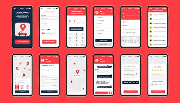 Kit di design unico per la prenotazione di auto per app mobili. schermate degli ordini di auto a noleggio online con chat, valutazione, profilo utente e mappa della città. interfaccia utente del servizio di car sharing, set di modelli ux. gui per un'applicazione mobile reattiva