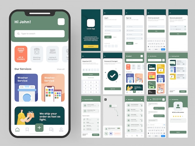 Kit di interfaccia utente per app mobili con layout di interfaccia grafica diverso tra cui accesso, registrazione, creazione account, dettagli articoli tecnici, servizio di consegna e schermate di pagamento.