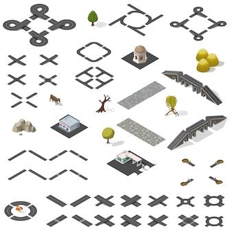 Kit di mappe stradali isometrico