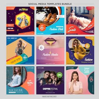 Kit di modelli di social media multiuso booster.sale e banner di sconto, adatti alla tua promozione