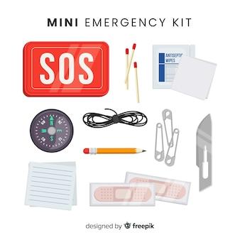 Kit di sopravvivenza di emergenza con design piatto