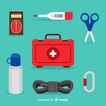Kit di sopravvivenza di emergenza in stile piatto