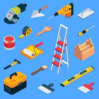 Kit di strumenti di lavoro di riparazione casa isometrica piatta