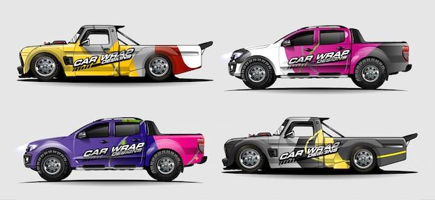 Kit grafico del veicolo. astratto sfondo curvo per auto da corsa, van e camion decalcomanie design