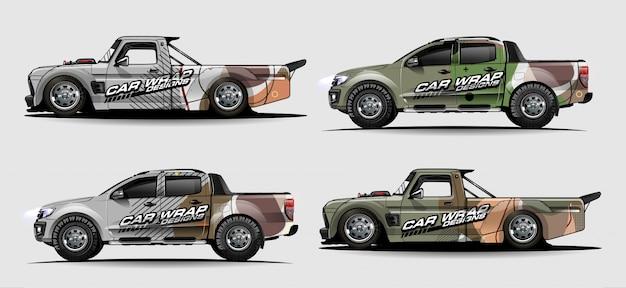 Kit grafico del veicolo. linee astratte con sfondo a forma di curva per avvolgere adesivo in vinile per auto da corsa, furgone e camioncino