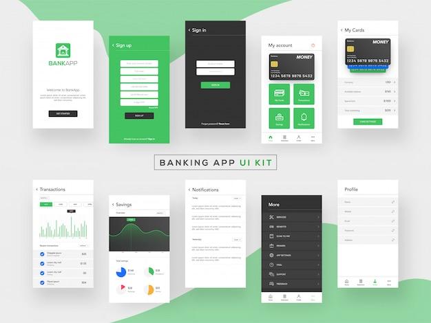 Kit interfaccia utente di banking app per l'applicazione mobile reattiva.