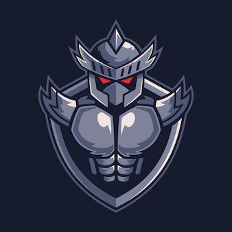 Knight warrior sul design del logo dello scudo