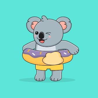 Koala carino con ciambella ad anello da nuoto
