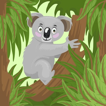 Koala cartoon in cortile