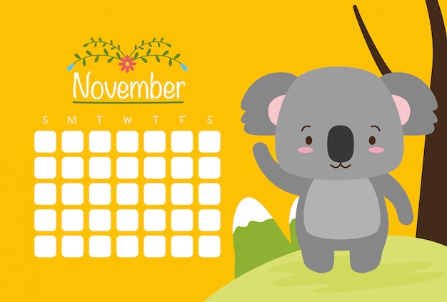 Koala con calendario, simpatici animali, stile piatto e cartoon, illustrazione
