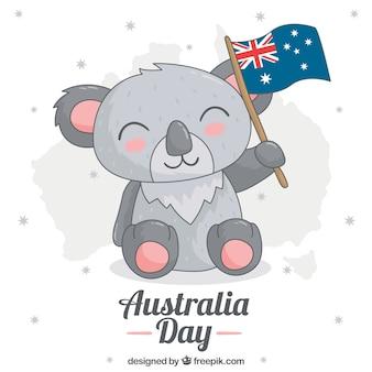 Koala sveglio con la bandiera per celebrare il giorno australia