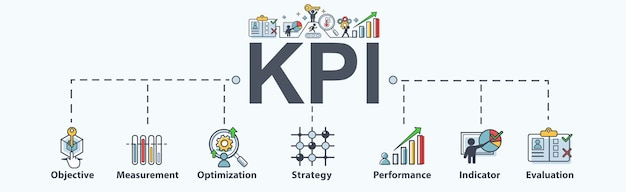 Kpi banner web icon per il business.