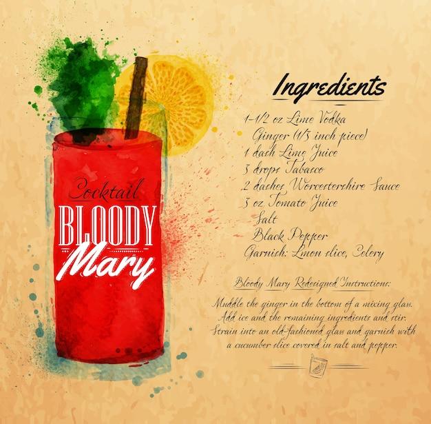 Kraft dell'acquerello dei cocktail di bloody mary