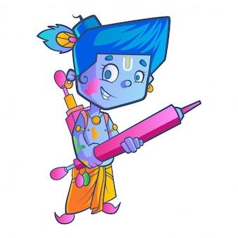 Krishna sveglio con l'illustrazione della pistola a acqua