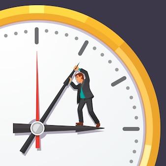L'uomo in tuta d'affari cercando di fermare il tempo