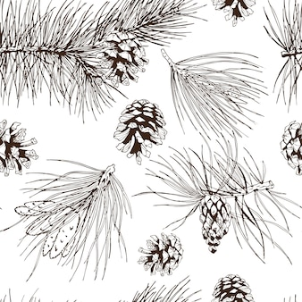 L'abete rosso dell'albero di natale del pino abete e coni senza cuciture vector l'illustrazione