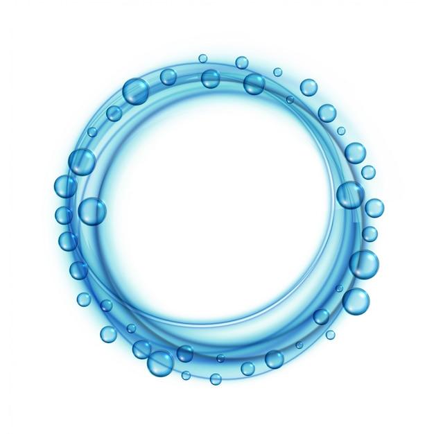 L'acqua del sapone bolle fondo blu della struttura