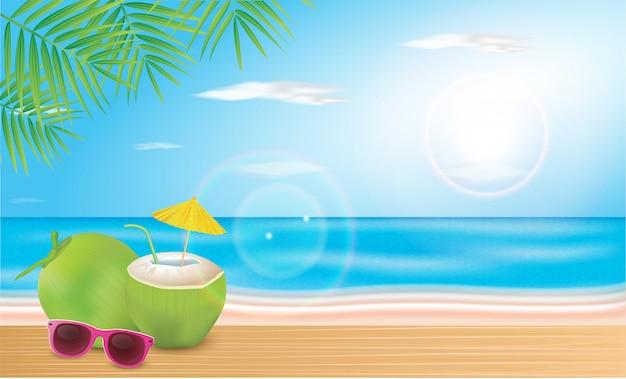 L'acqua di cocco viene posata sulle assi della spiaggia. illustrazione vettoriale ciao vacanze estive.