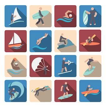 L'acqua raccolta icone dello sport