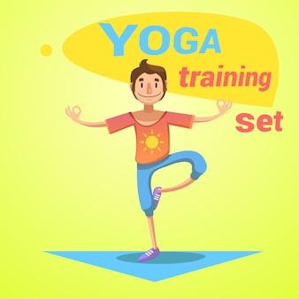 L'addestramento di yoga ha messo con l'illustrazione di vettore del fumetto di simboli di felicità e di salute