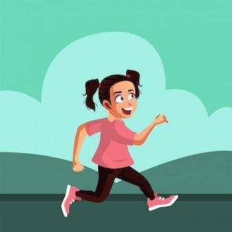 L'adolescente corre la mattina prima di andare a scuola