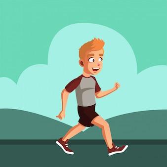 L'adolescente maschio corre la mattina prima di andare a scuola