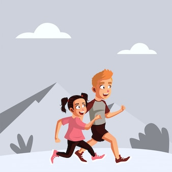 L'adolescente maschio e femmina corre insieme la mattina prima di andare a scuola