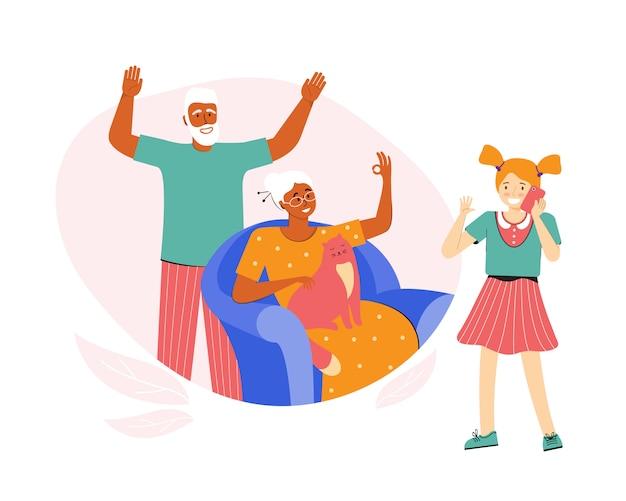 L'adolescente sta parlando al telefono con i nonni. gli anziani comunicano con la loro nipote. una coppia di anziani trascorre del tempo a casa. conversazione telefonica. comunicazione a distanza sociale