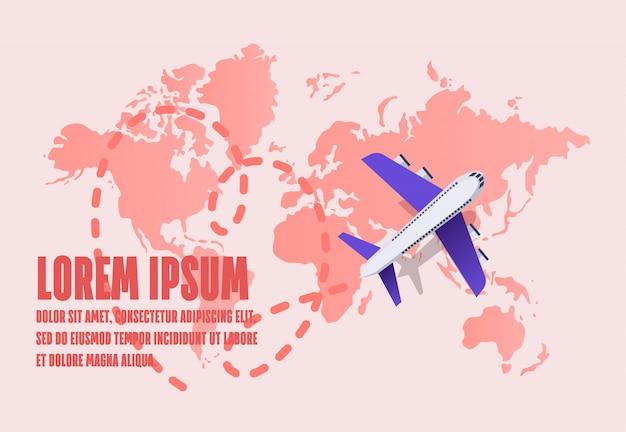 L'aereo che vola su una mappa del mondo riserva una traccia tratteggiata.