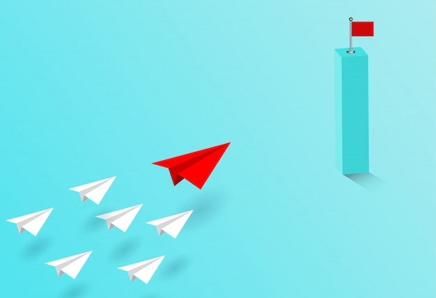 L'aereo di carta rosso e bianco sono in competizione e vanno a destinazione.