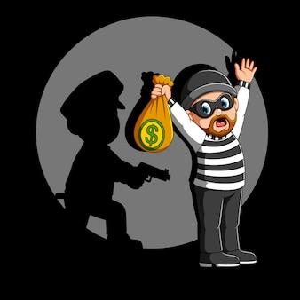 L'agente di polizia arresta il ladro