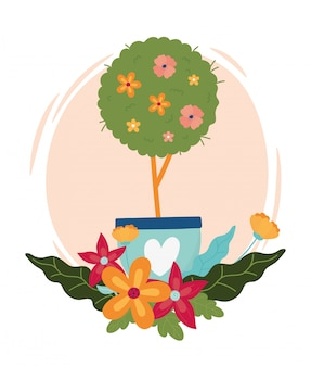 L'albero felice della molla fiorisce in vaso con la decorazione del cuore