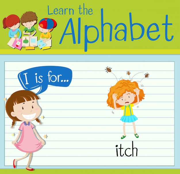 L'alfabeto flashcard i è per prurito