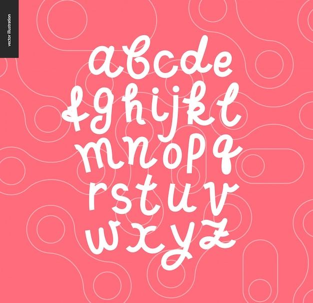 L'alfabeto latino dello scritto scritto a mano di vettore sulle forme descritte rosse ha modellato il fondo