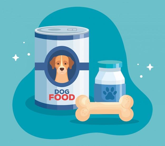 L'alimento dell'animale del cane dentro può la progettazione dell'illustrazione di vettore